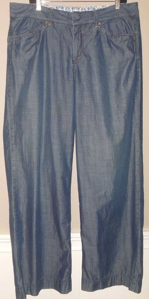 ab089a01 Tommy Bahama Size 16 Chambray Denim Look Wide Leg Pants Trousers Slacks…