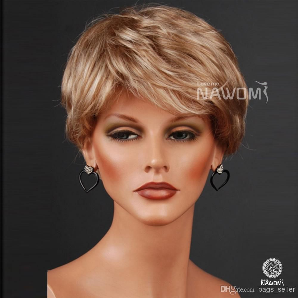 Short blonde hair wig for ol synthetic fiber of kanekalon pc