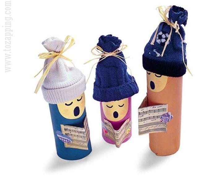 Coro de Navidad con cartón de papel higiénico
