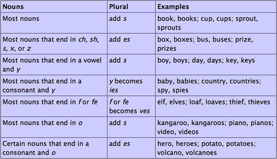 Singular and plural nouns - online presentation
