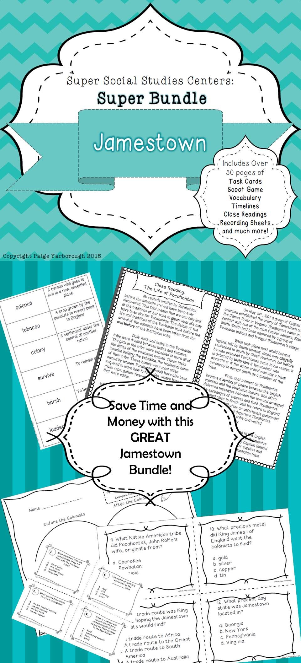 Jamestown Super Bundle 5th Grade Social Studies Centers Over 30 Pages Of Jamestown Cente Social Studies Lesson Social Studies Resources Teaching Social Skills