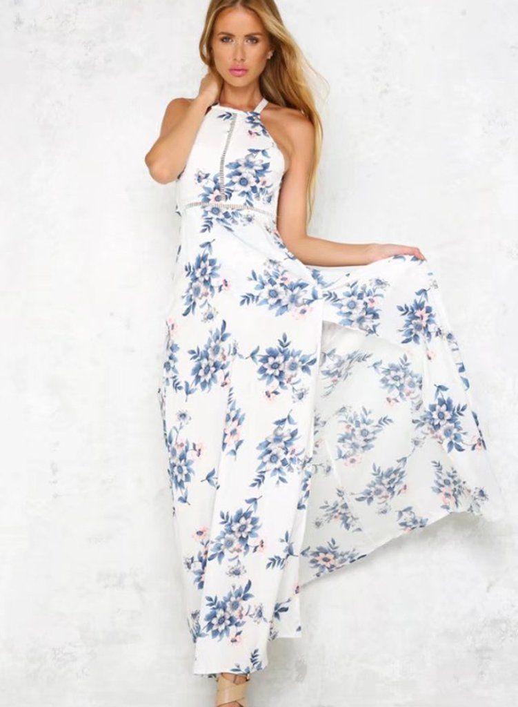 32964952ef726 Halter Backless Sleeveless Floral Printed Slit Maxi Dress