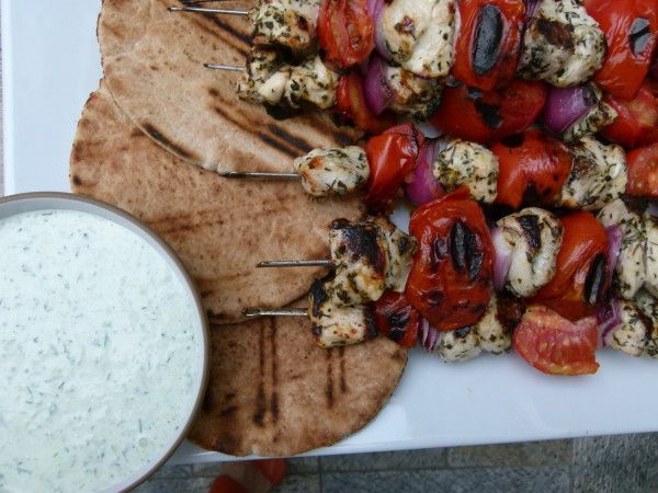 Image result for Chicken Souvlaki With Tzatziki