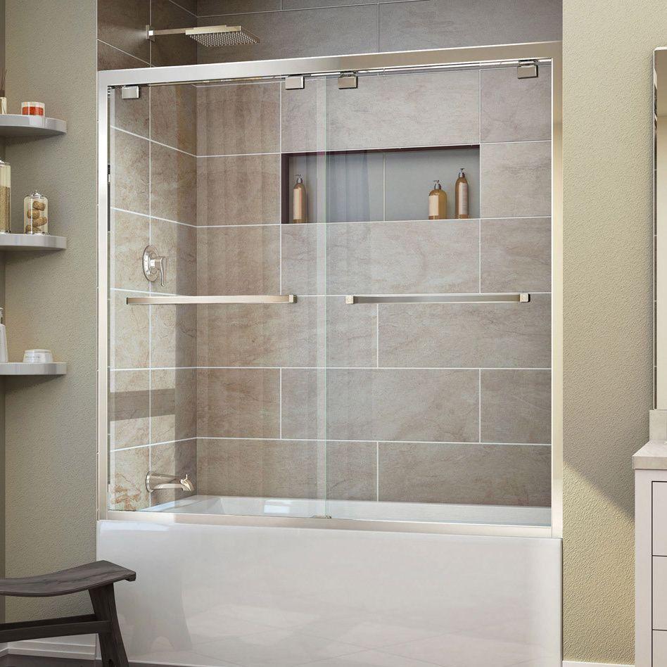 The DreamLine Encore bypass sliding shower or tub door has a modern ...