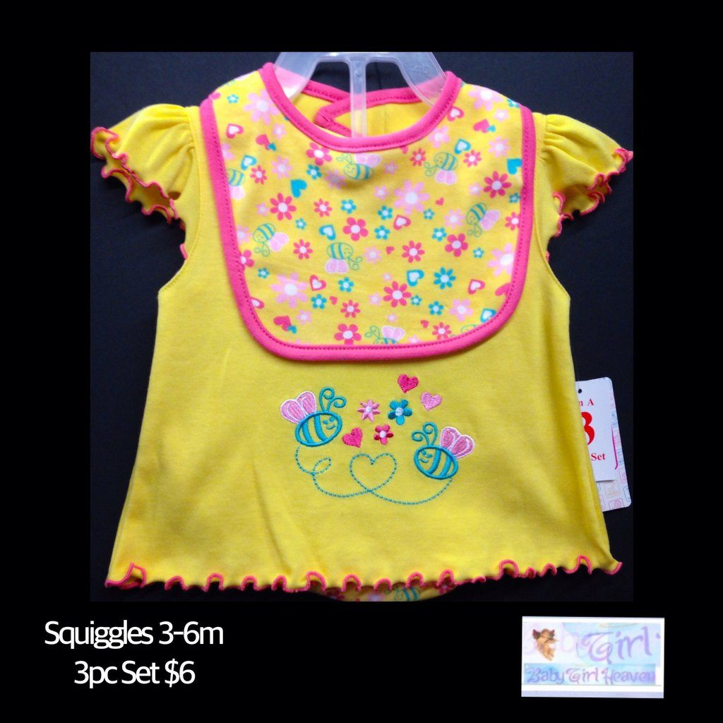 "Swiggles 3-6m Infant Girls ""Bee"" 3pc Outfit Set NEW W/Tag $6"
