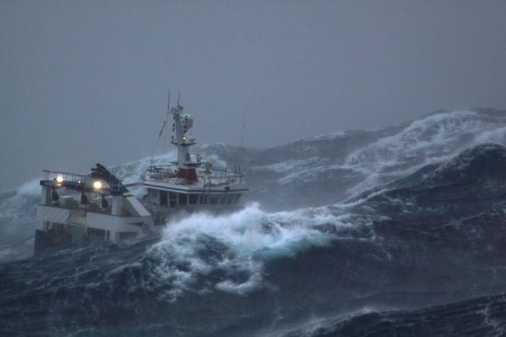"""These are truly dramatic images and they show how even a 93-foot, deep displacement-hulled steel fishing trawler can have a """"sporty ride"""" on the worst of the North Atlantic's seas."""