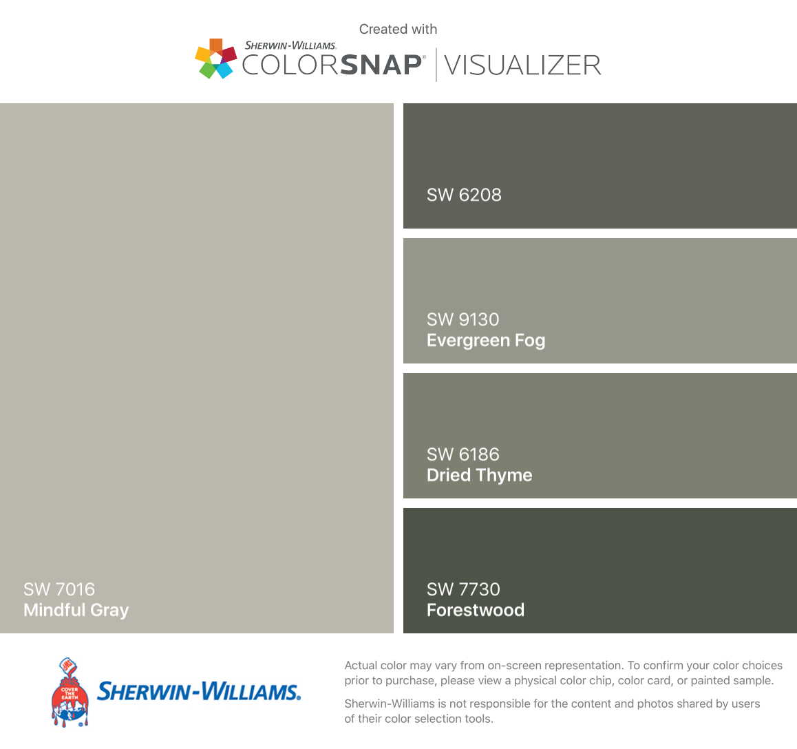 Sherwin williams popular greys - I Found These Colors With Colorsnap Visualizer For Iphone By Sherwin Williams Mindful