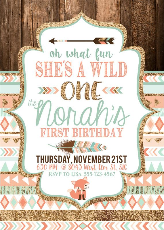 Tribal Wild One Party Invite Birthday Babys First By CassiaLeighDesigns