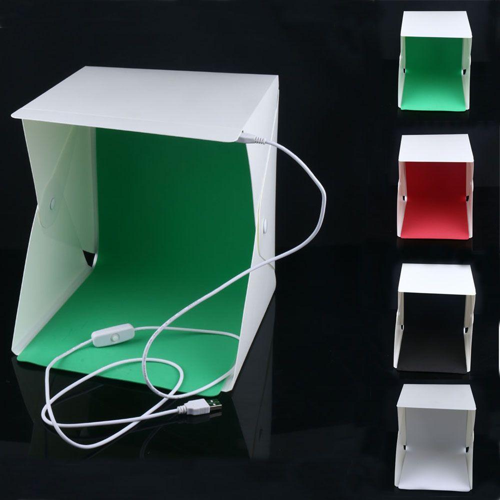 2017 New Mini Folding Studio Diffuse Soft Box With Led Light Black White Green Red Background Photo St Photo Light Box Photo Studio Studio Photography Lighting