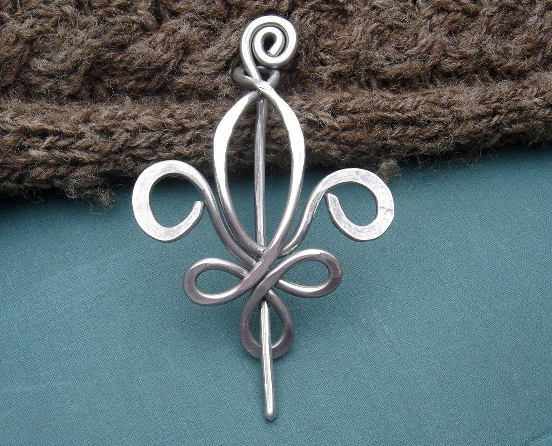Fleur De Lis Aluminum Shawl Pin, Scarf Pin, Sweater Brooch, Fastener ...
