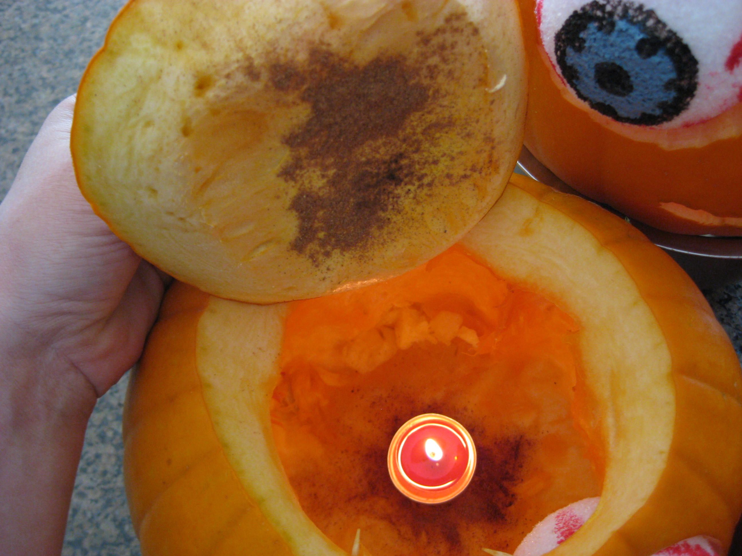 Add Pumpkin Spice In your Pumpkin, it gives off a lovely fall scent when lit! Genius!