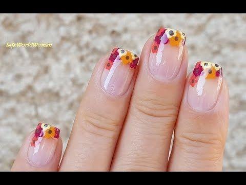 Dotting Tool Nail Art 8 Fall Dot Flower French Tip Nails Nail