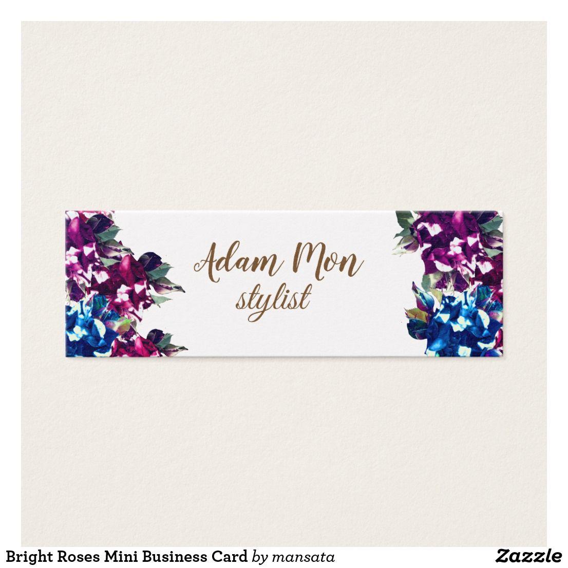 Bright Roses Mini Business Card Zazzle Co Uk Mini Business Card Floral Business Cards Unique Business Cards