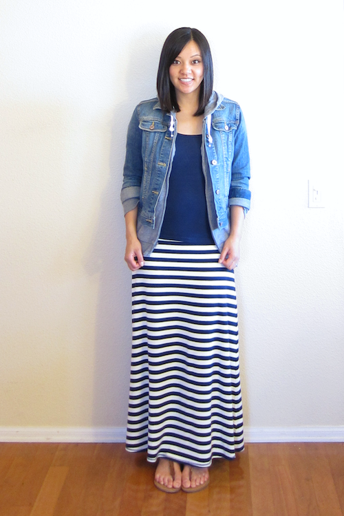 casual) gray hoodie, denim jacket, navy blue tee, striped maxi ...