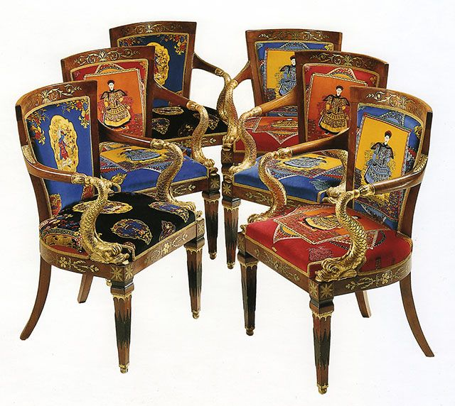 Mahogany And Gilt Chairs Early 19th Century Upholstered In Chinese Gardener Flora Cotton Velvet Fabric Designed By Gianni Versace