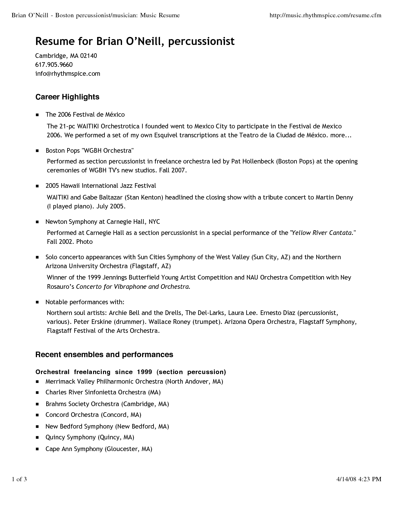 Musician Resume Template Brian Oneill Boston