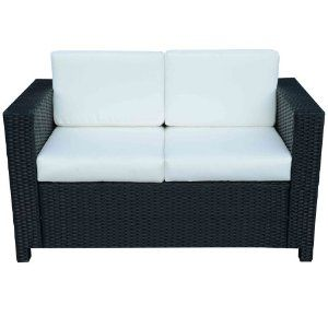 Outsunny Rattan 2 Seater Sofa Chair All Weather Wicker Weave Aluminium Frame Outdoor Garden