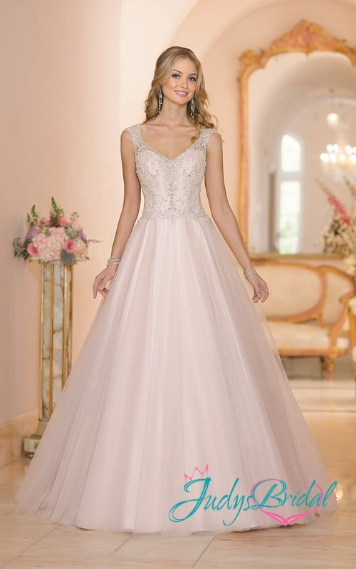 sexy blush sheer back sparkles princess ball gown wedding dress ...