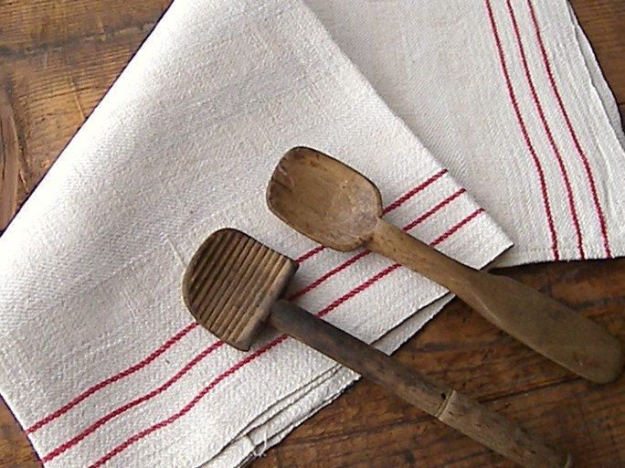 Traditional French Linen Kitchen Towel Torchons Vintage Tea With Red Stripe 16 00 Via Etsy