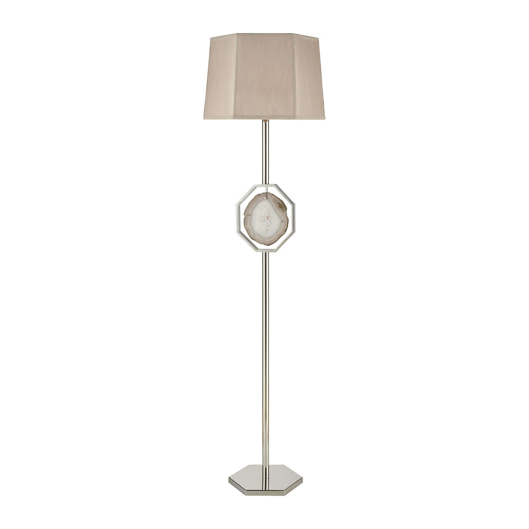 0 008261 Gt Askja 1 Light Floor Lamp Polished Nickel Natural Agate Floor Lamp Cool Floor Lamps