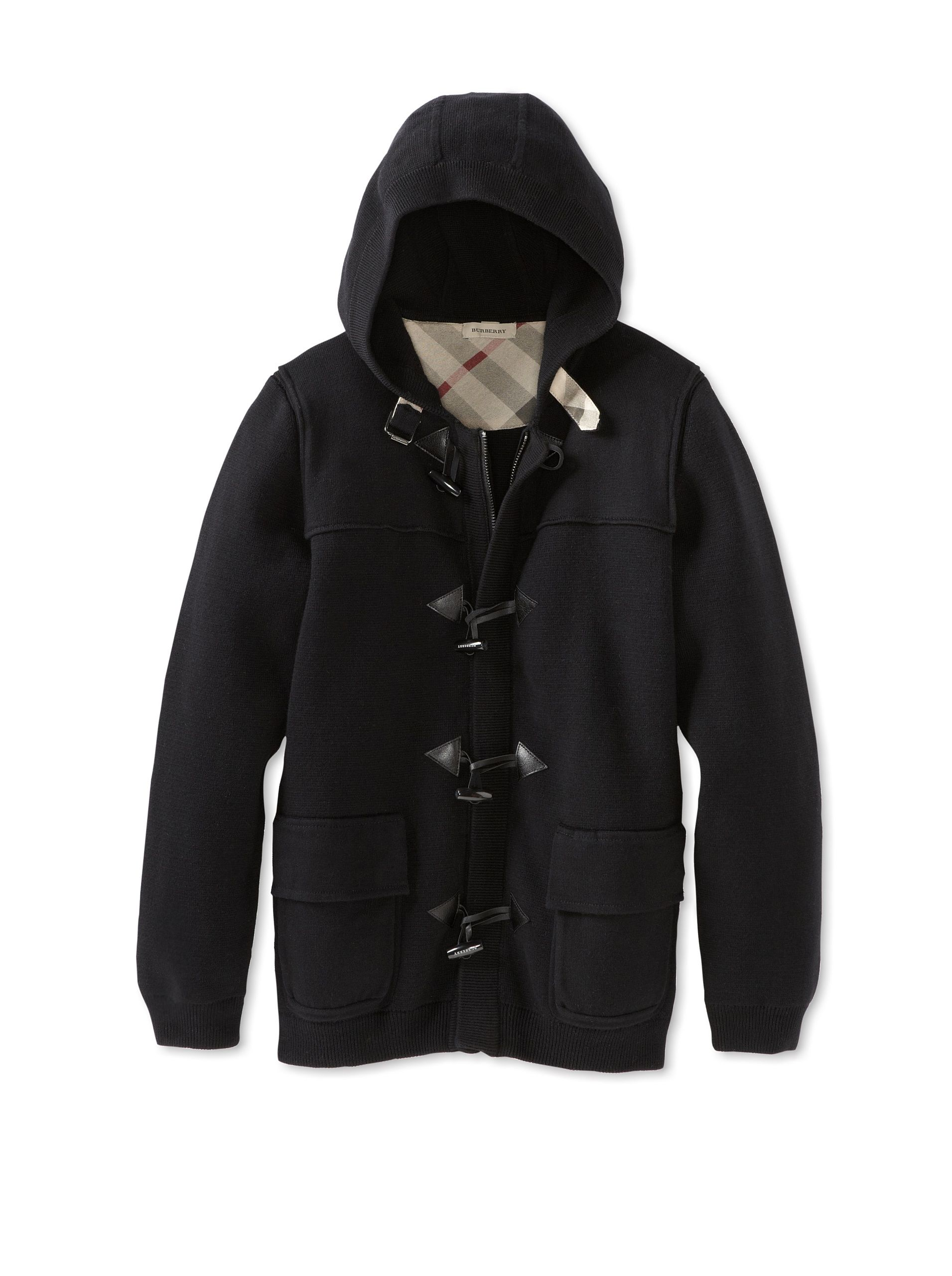 Burberry Kid's Cardigan Sweater (Black) Medium-weight knit, hooded neckline, front zipper closure with toggle overlay, patch pockets, ribbed knit trim, signature plaid trim #Cardigan #Sweater #