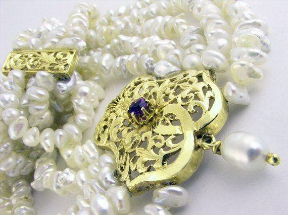Vintage Pearl Necklace Four Strand Fresh Water Keishi Pearls Bridal Necklace Renaissance Art Nouveau style