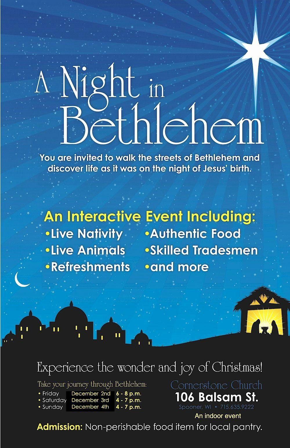 Cornerstone Church Spooner Wi Christmas Walk 2020 A Night In Bethlehem Invitation Unique Cornerstone Church Hosting