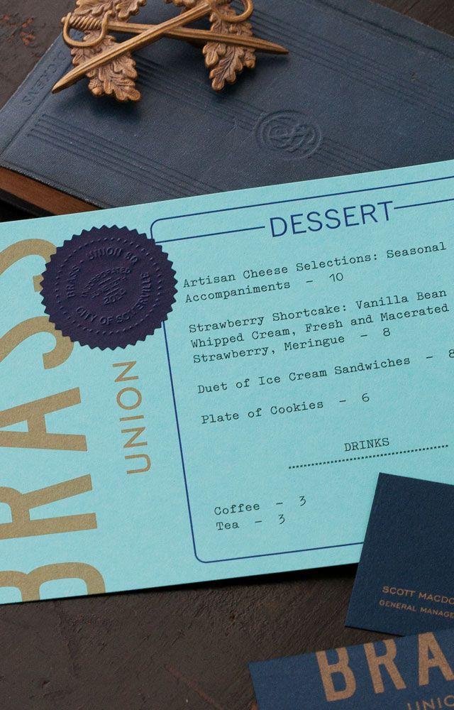 Finding the Paper: Brass Union   Desserts menu, Stationery ...