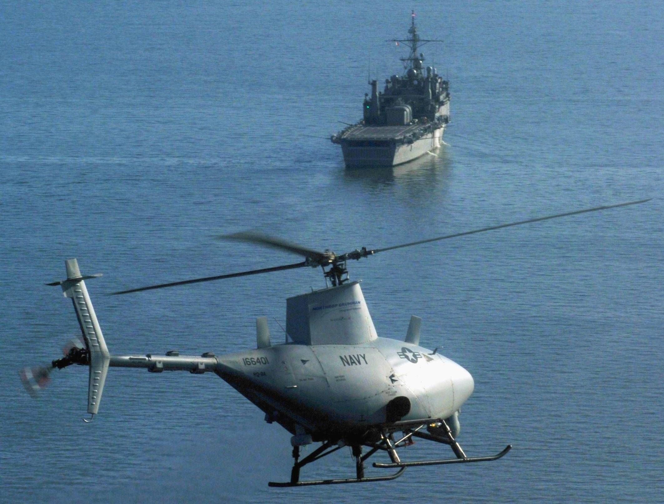 Fire Scout unmanned helicopter (RQ-8A) about to make its first ever at-sea landing, on the USS Nashville (LPD 13) in 2006.