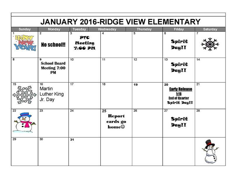 Ridge View January 2017 Activity Calendar Activities Elementary