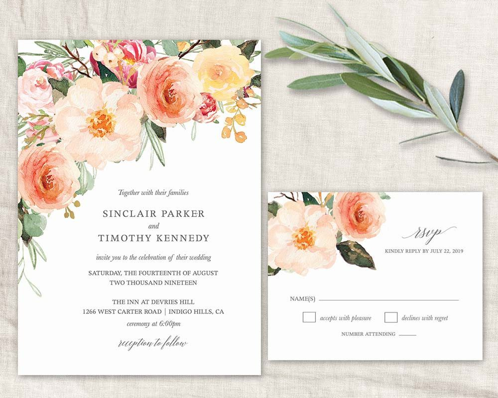 Boho Eucalyptus Wedding Invitation Template Bohemian Invitation