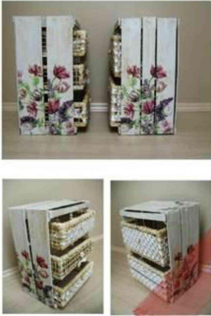 Como hacer un mueble con huacales de madera forrado de for Como reciclar puertas de madera