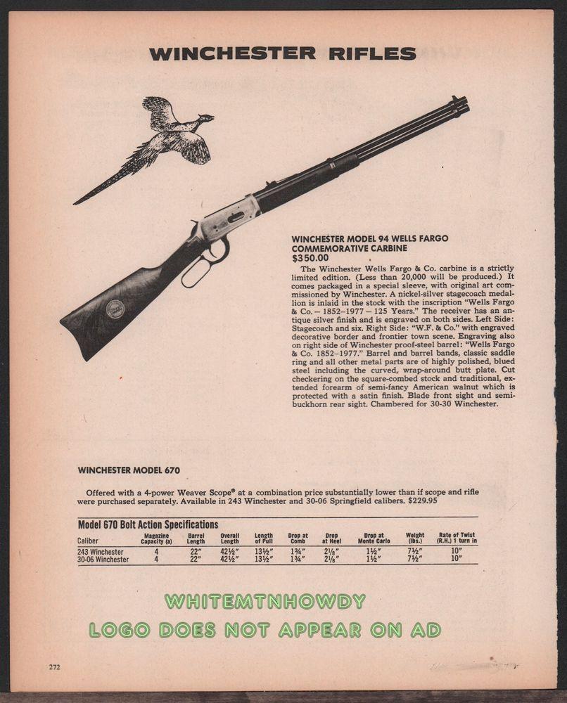 1978 WINCHESTER Model 94 Wells Fargo Commemorative CARBINE AD   Gun
