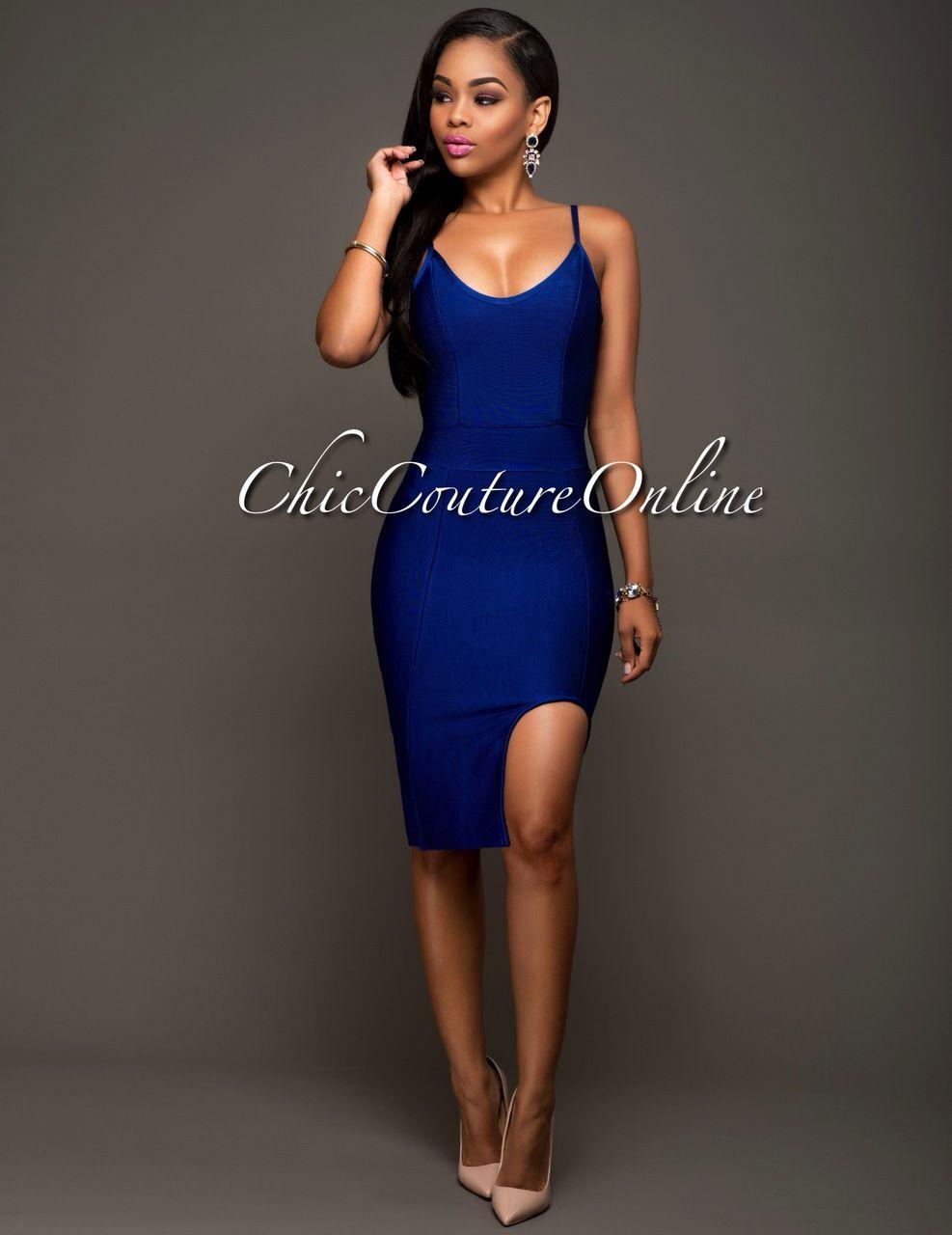 Venetian Royal-Blue Slit Luxe Bandage Dress