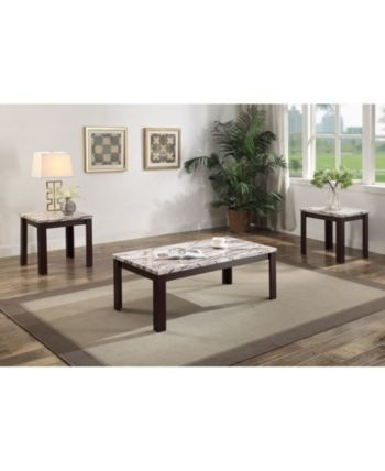 Carly 3 Piece Coffee End Table Set Brown 3 Piece Coffee Table