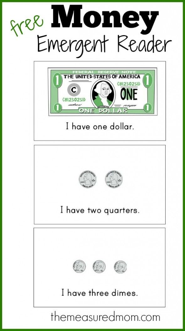 Free money emergent reader (3 versions | Basic sight words, Emergent ...