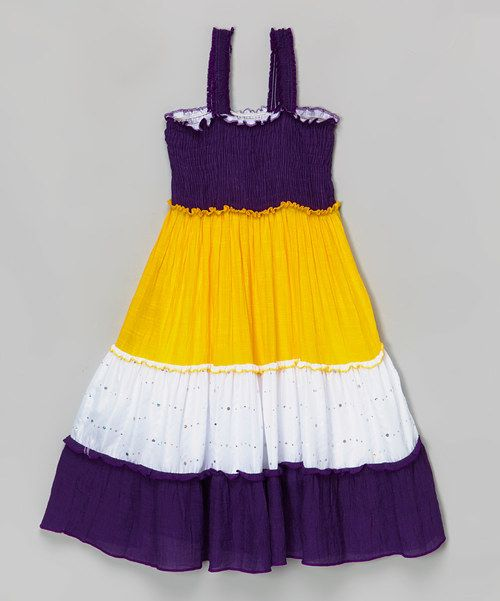 Color block yellow dress girls