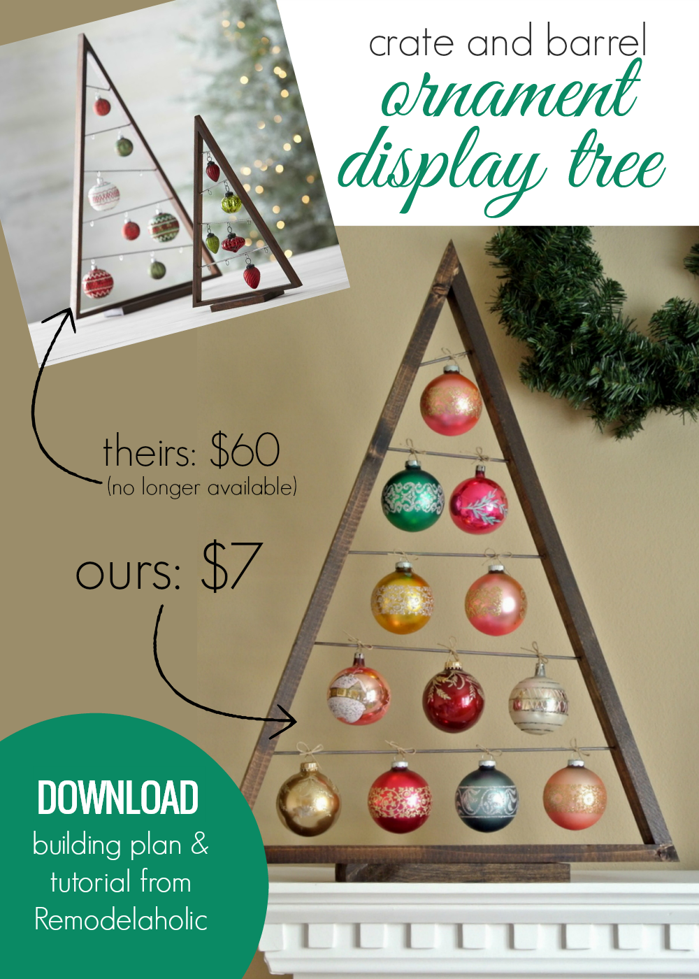 Build Your Own Wooden Ornament Display Tree For Under 10 Easy Download Woodworking Plans Perf Ornament Tree Display Ornament Display Diy Christmas Ornaments