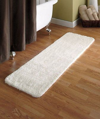 54 Ivory Microfiber Plush Bath Runner Rug Ultra Absorbent Soft On Feet Bathroom