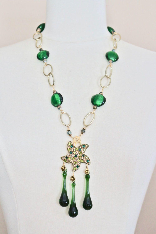 Vintage Starfish Necklace, Rhinestone Statement Necklace, Antique Brooch Gold Green Chandelier Glass, Jennifer Jones, OOAK - The Emerald Sea by JenniferJonesJewelry on Etsy