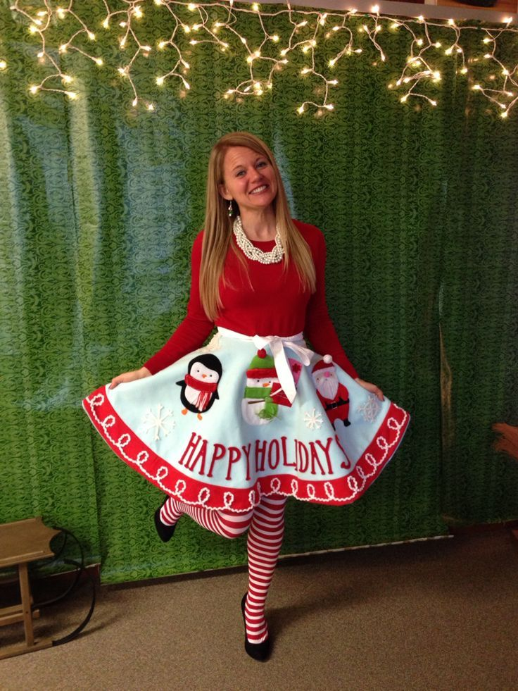 Ugly Holiday Sweater Party Idea! Make a tree skirt into a skirt ...