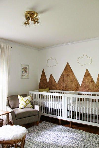gender neutral mountain themed twin nursery idea | mountain ...