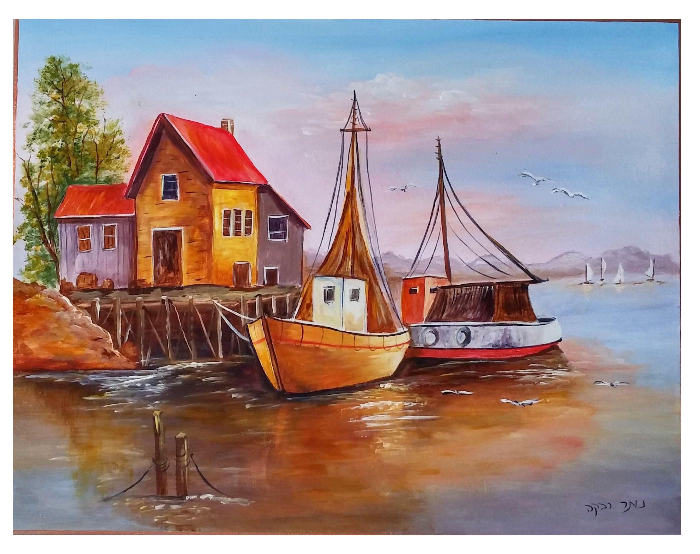 bateaux de pêcheurs. peinture acrylique sur une peinture de ... - Technique Peinture Acrylique Sur Bois