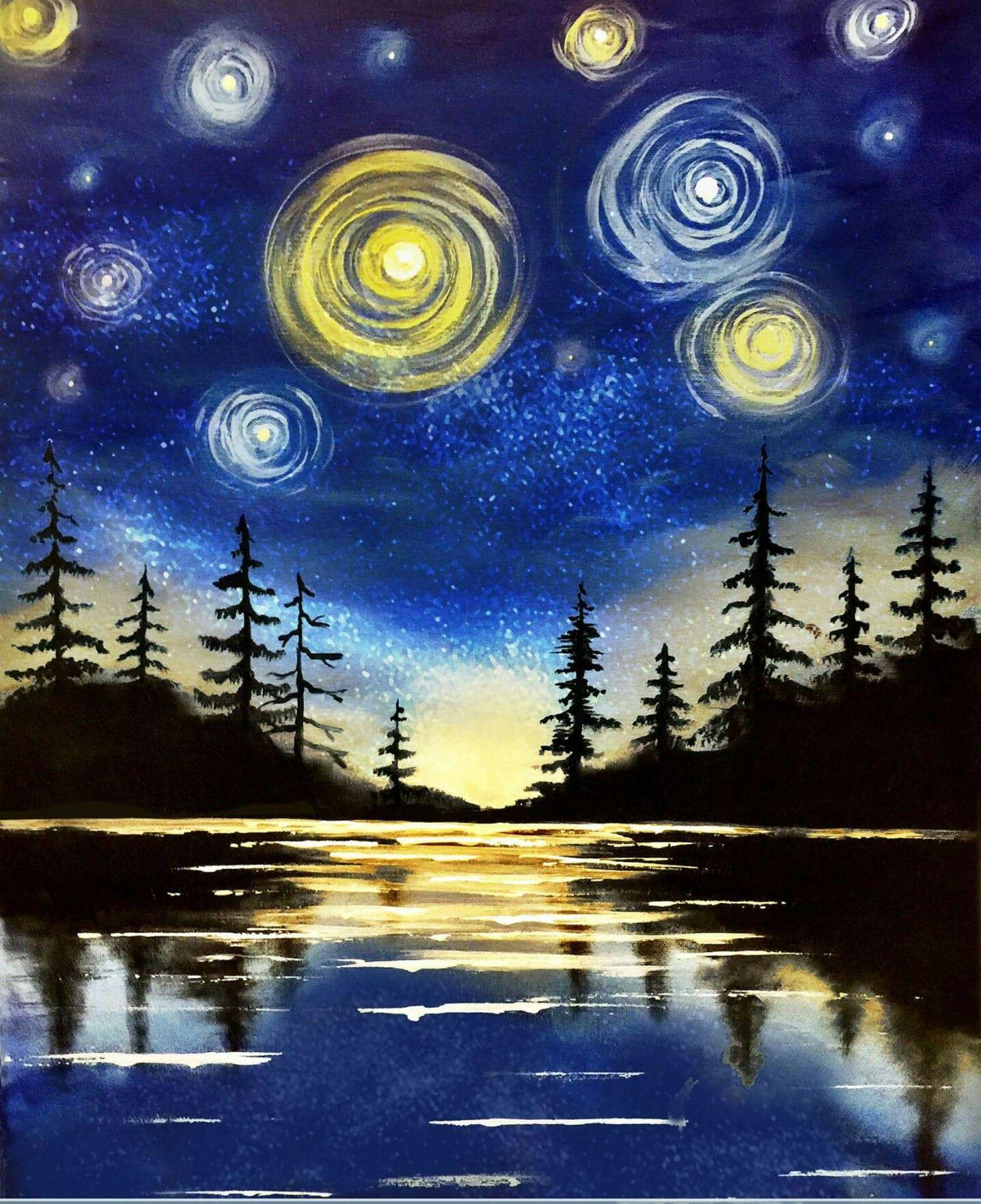 Картинки ночь рисовать гуашью