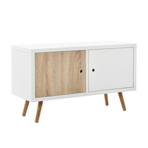 en-casa-kommode-weiss-eiche-wohnzimmer-schrank-sideboard-retro-tv ... - Retro Wohnzimmer Weis