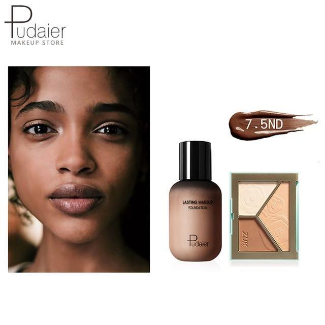 Pudaier Face Foundation Make-up Set Liquid Foundation Creme Matt Highlighter Base Gesicht ALL Concealer Cosmetic Professional Base – 7.5ND
