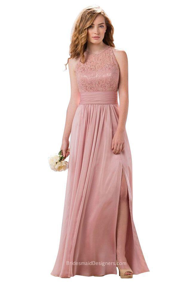 Elegant misty pink floor length bridesmaid dress features sleeveless ...
