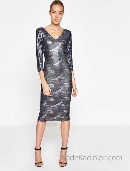 2018 Koton Elbise Modelleri Mor Dizalti V Yakali Uzun Kollu Desenli Elbise Modelleri The Dress Moda Stilleri