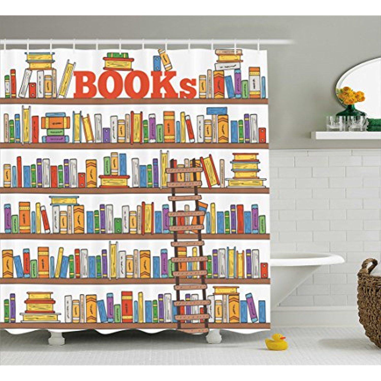 Modern Shower Curtain By Ambesonne Library Bookshelf With A
