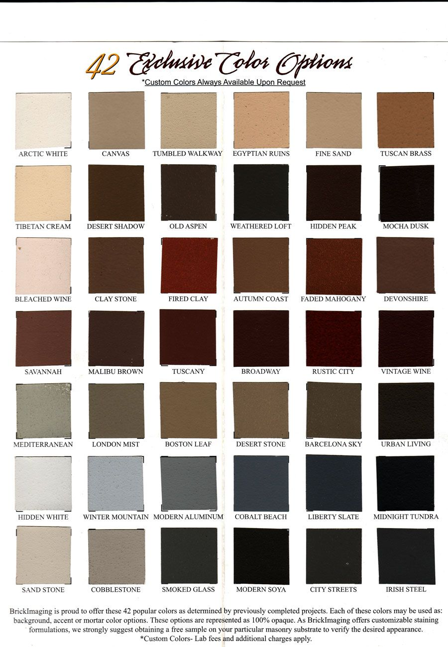 Our Brick Staining Color Chart Can Help You Decide How You Want